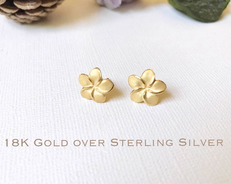 Gold over Sterling Silver Plumeria stud earrings Plumeria image 0