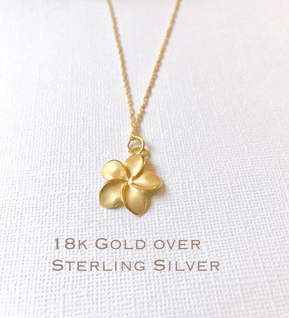 Sale Gold Over Sterling Silver Plumeria Necklace Plumeria Etsy