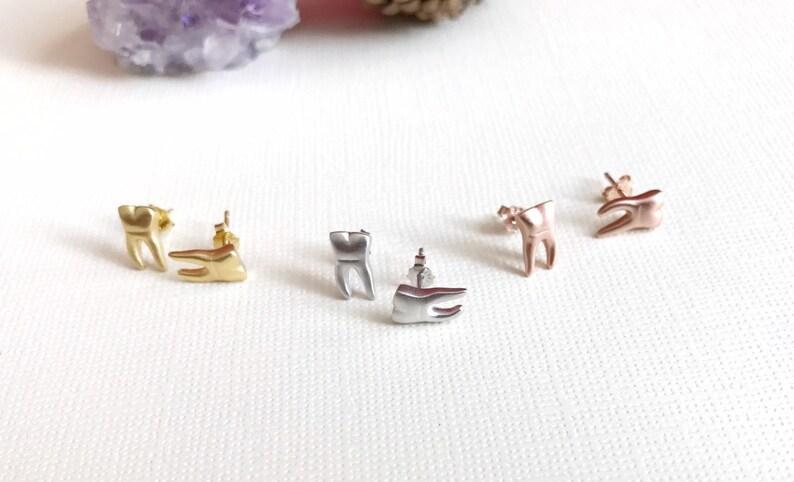 molar earrings dental jewelry. Sterling silver teeth stud earrings dentist earrings tooth earrings dental gifts Dental earrings