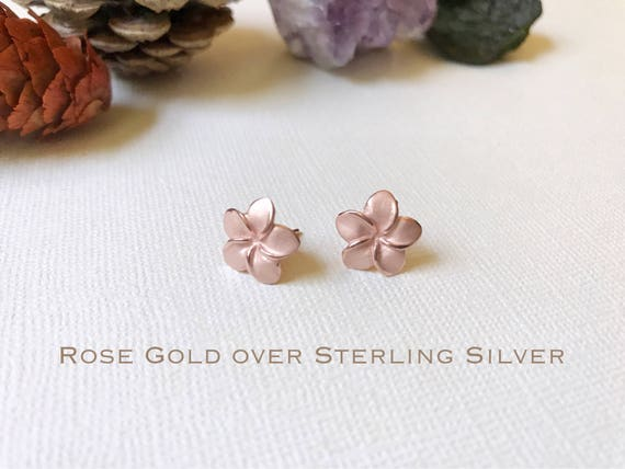 Plumeria earring Plumeria stud earring Plumeria studs Silver Plumeria Flower earring Rose Gold over Sterling Silver Hawaiian earrings