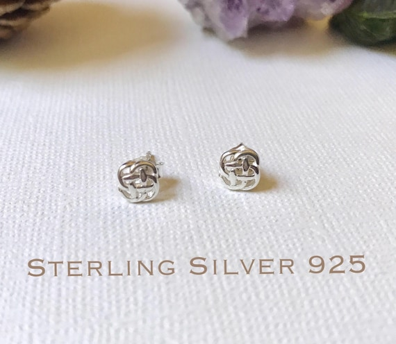 Sterling Silver 6mm Celtic Triangle Knot Dainty Post Stud Earrings.
