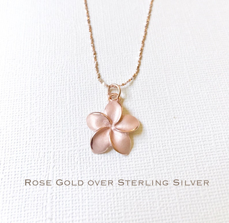 Hawaii Gift Ideas for the Holidays featured by top Hawaii blog, Hawaii Travel with Kids: Sale Rose Gold over Sterling Silver plumeria necklace image 0