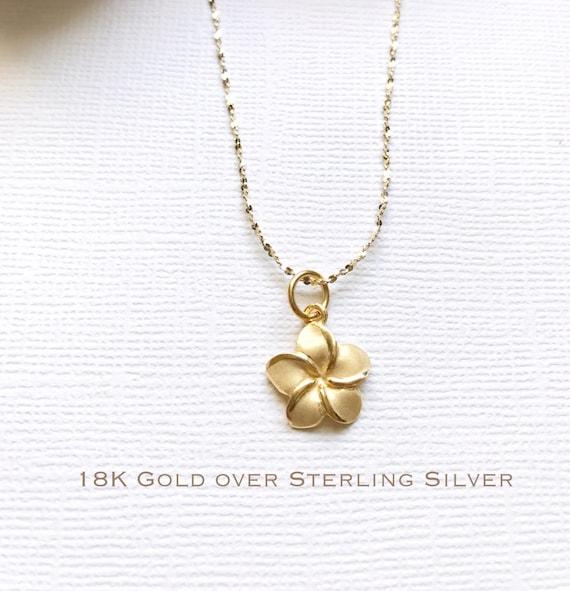 Sale Sterling Silver Plumeria Necklace Plumeria Necklace Etsy