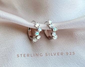 Sterling Silver Opal earring, Opal hoop earrings, Opal huggie, Ethiopian opal, Genuine Opal, Tiny hoop earrings, bridesmaid gift