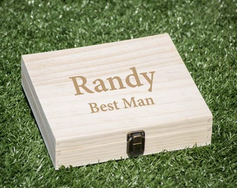 Groomsmen Gift Box, Best Man Wood Box, Cigar Box, Flask Set Box, Wood Case, Wedding Gift Box for Souvenir, Storage Box, Cigar Display