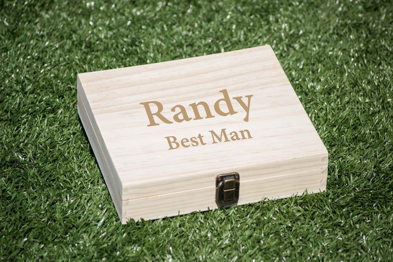 Groomsmen Gift Box, Best Man Wood Box, Cigar Box, Flask Set Box, Wood Case,  Wedding Gift Box for Souvenir, Storage Box, Cigar Display