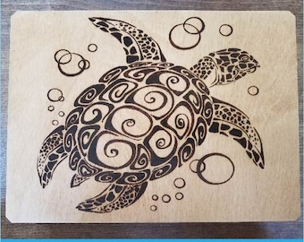 Advice From a Sea Turtle Wood Burned Box