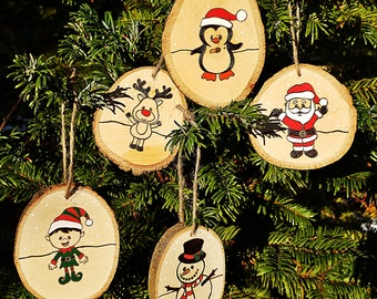 Santa and Friends Wood Slice Ornaments Set of 5
