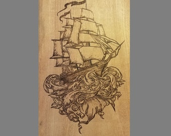 Ship Crashing Through Waves Wood Burned Sign