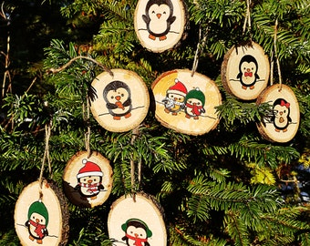 Holiday Penguin Wood Slice Ornaments