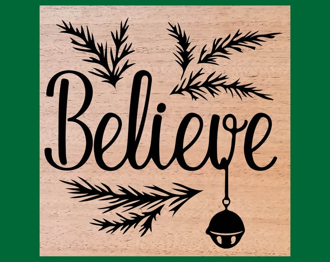 Featured listing image: Believe Wood Burned Sign