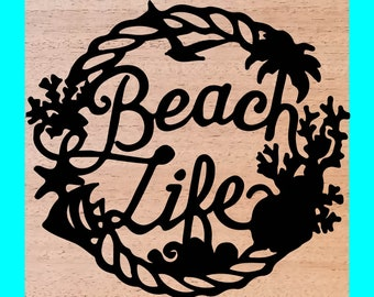 Beach Life Wood Burned Sign