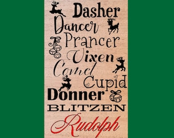 Santa's Reindeer Wood Burned Sign