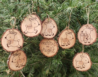 Christmas Reindeer Wood Slice Ornaments Set of 8