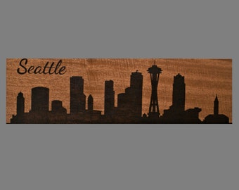 City Skyline Wood Burned Sign