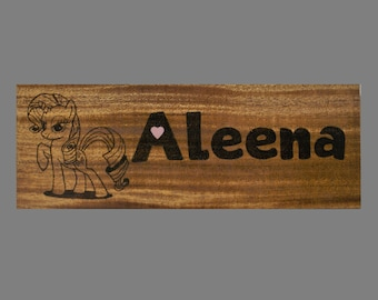 Personalized My Little Pony Wood Burned Name Sign