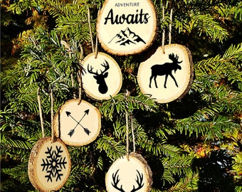 Adventure Awaits Wood Slice Ornaments