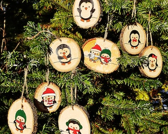 Holiday Penguin Wood Slice Ornaments