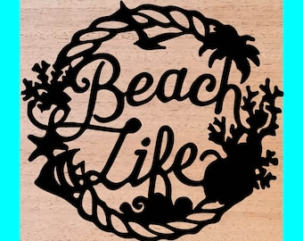 Beach Life Wood Burned Sign