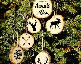 Adventure Awaits Wood Slice Ornaments