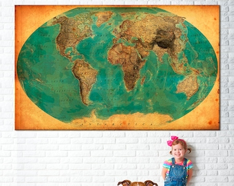 World Map Print, blue old map, vintage style map, Canvas map world, world map, large canvas map, large world map, antique world map