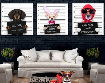 Dogs Canvas Art, Nursery Canvas, Animal Triptych, Dog Wall Art, Kids Decor