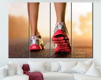 Running canvas, Running wall art, Sports decor, Sports decor room, Sports decor art, Motivational art, Sports room art, Extra Large Wall Art