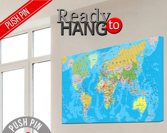 World Map, Art print on canvas world map, Map your travels, Pin world map, Push pin canvas, Push pin map canvas, World Map Poster, Push Pin