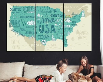 United States Map, American map canvas, State map, State map art, USA map, Large USA map, USA map wall art, United States map, Map canvas