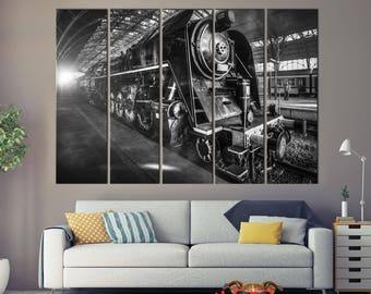 Locomotive, black and white, locomotive on canvas, locomotive art, locomotive wheels, train canvas print, train illustration, train art