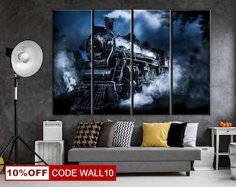 Train Canvas print, Train Illustration, Black and White, Train Art, Locomotive, Locomotive on Canvas, Locomotive Art, Locomotive Wheels