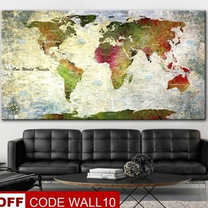 Large Pin Maps World Blue Background White Art Canvas Wall Art Etsy