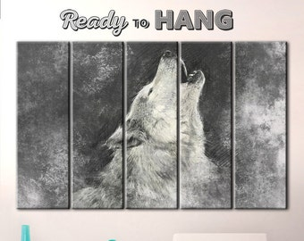 Howling wolf, Black and white wolf, Wolf art print, Wolf art poster, Wolf decor, Wolf print, Wild wolf, Wolf cry, Wolf canvas, Wolf Howling
