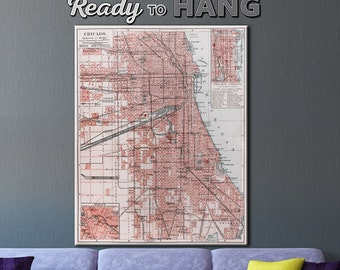 Chicago Old  map, Vintage Chicago map, Chicago map, Map of Chicago, Chicago city map, Chicago print, Chicago art, Vintage chicago