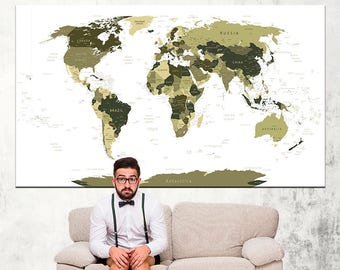 World Map Push Pin, Travel map, World Map Poster, World Map Print, Large world map, World Map Art Canvas, World Map Canvas, World map art