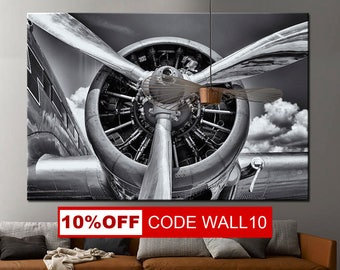 Aircraft Art Prints, Canvas Panels, Art Canvas Print, Original Wall Home, office decor interior, airplane propeller, propeller canvas
