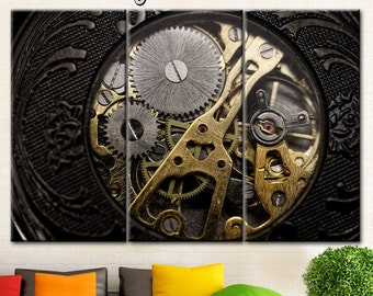 Steampunk Mechanism Canvas Clock Wall Art Print Decor