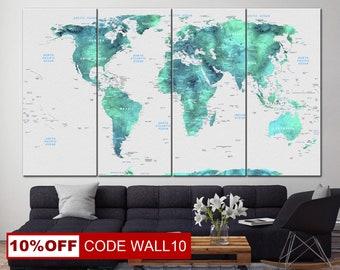 Woonkamer Met Wereldkaart : Turquoise wereldkaart etsy