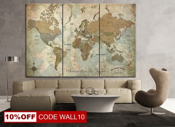 World Maps Canvas Large World Map Poster Large World Map Wall Art Beige  Prints Dine Room Wall Art Home Wall Decorating Wall Art Prints Gifts