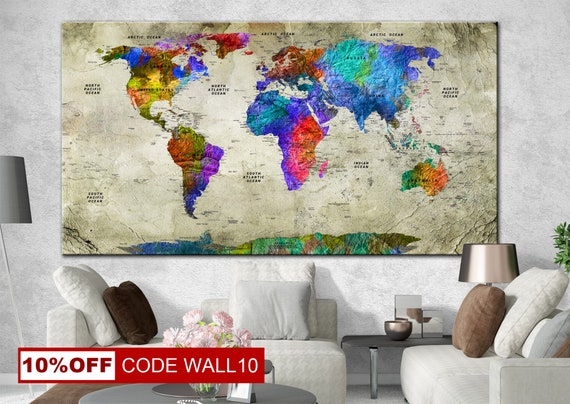 Canvas wrap original painting world map all countries gumiabroncs Choice Image