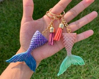 Mermaid Charm Key Chain Birthday Mermaid Gift Idea, Tassel key chain,Resin Mermaid Tail Keychain Personalized Mermaid Jewelry