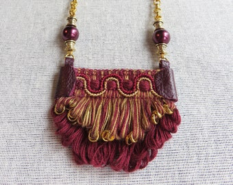 burgundy necklace statement - Fabulous boho pendant necklace perfect to be remarkable! - CO552