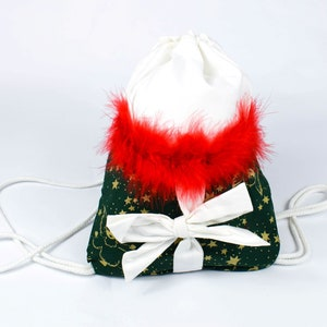 Christmas drawstring cotton backpack gift wrapping red green shoulder bag