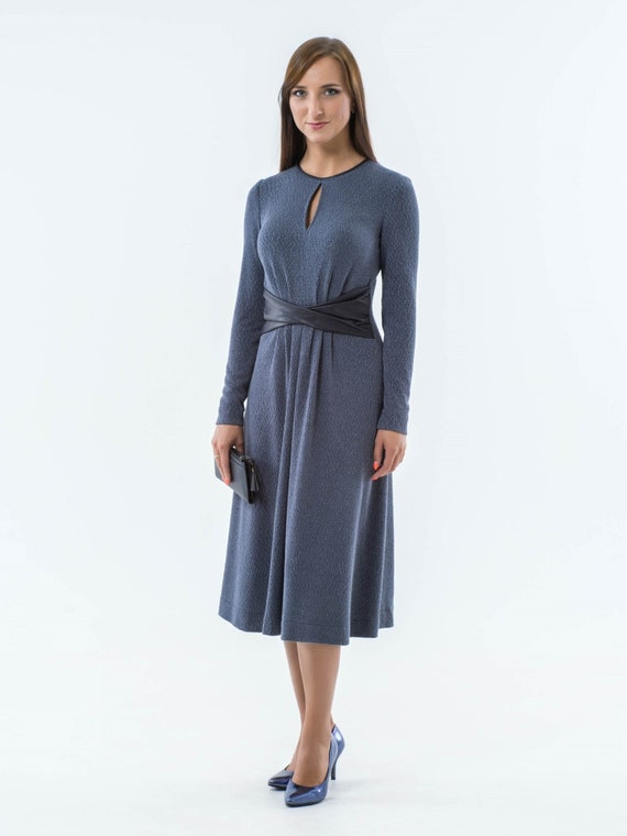 Elegant casual dress blue womens dress