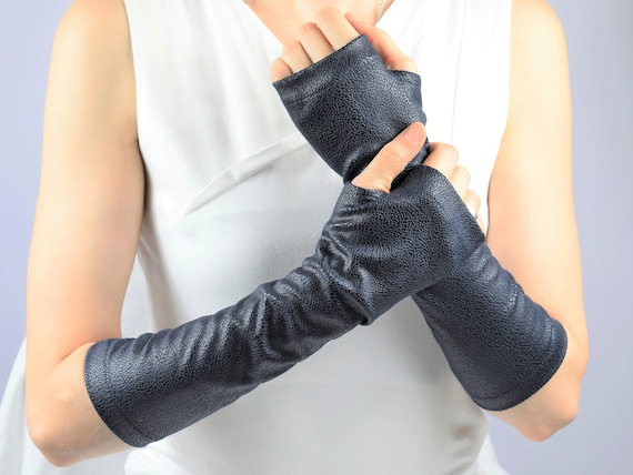 Fingerless gloves blue faux leather arm warmers women's   Etsy