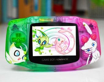 Extra Mods And IPS Backlit LCD GBA Mod Nintendo GameBoy Advance Celebi And Mew