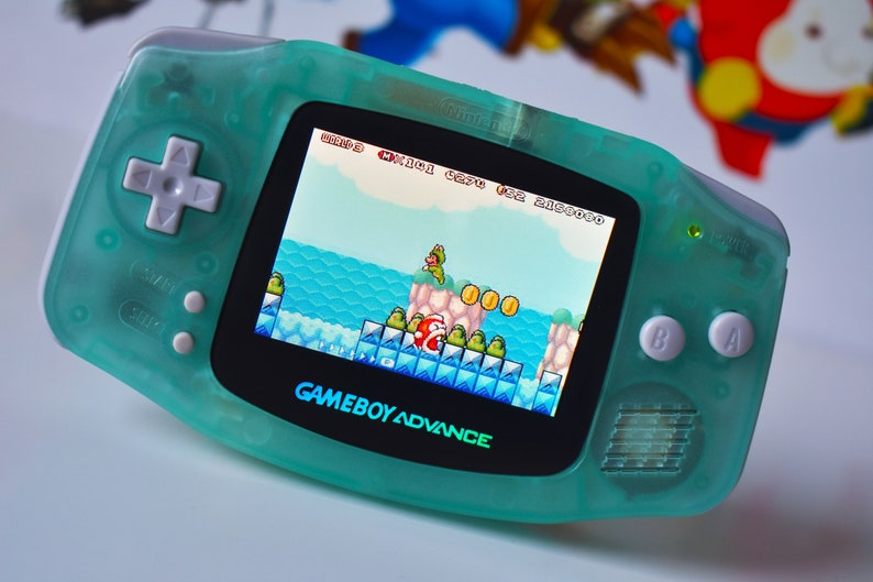 IPS/ags101 LCD - Get free extra mod - Backlit Mod Nintendo GameBoy Advance  Mint Glow In Dark Glass Lens Louder Speaker