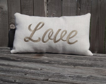 """Embroidered White Burlap """"Love"""" Pillow"""