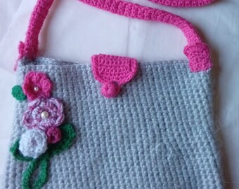 Crochet Grey and Pink Shoulder Bag with flower motif