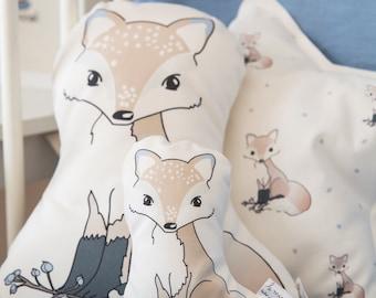Decorative Nursery Pillow, Fox pillow, baby pillow, nursery decor pillow, woodland nursery decor, crib pillow, kids pillow